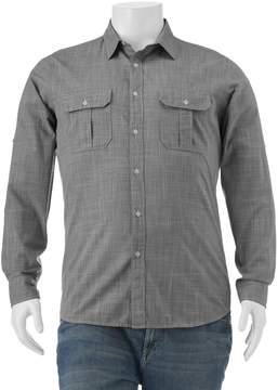 Apt. 9 Big & Tall Classic-Fit Crosshatch Roll-Tab Button-Down Shirt