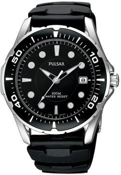 Pulsar Watch, Men's Black Polyurethane Strap PXH227