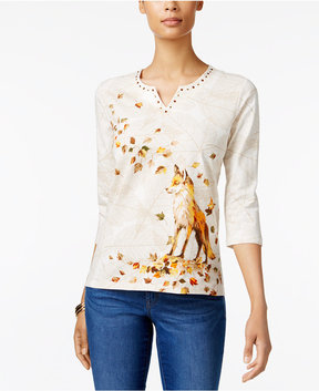 Alfred Dunner Embellished Fox-Graphic Top