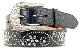 Ariat A1510601-S 1.5 in. Womens Swirl Studded Croc Print Western Belt, Black - Small
