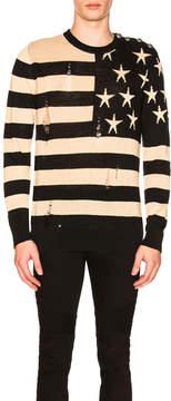 Balmain American Flag Pullover Sweater
