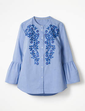 Boden Embroidered Bell Sleeve Shirt