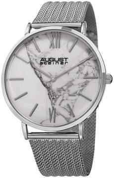 August Steiner Mens Silver Tone Strap Watch-As-8218ss