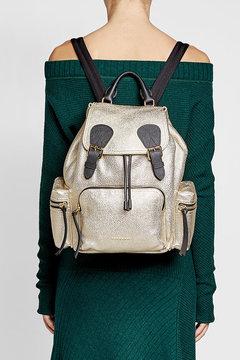 Burberry Medium Metallic Leather Backpack - GOLD - STYLE