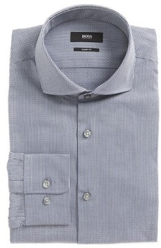BOSS Men's Mark Sharp Fit Geometric Dress Shirt