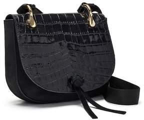 Elizabeth and James 'Zoe' Croc Embossed Leather Saddle Bag