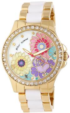 Betsey Johnson Women's Falling For Flowers Crystal Bracelet Watch