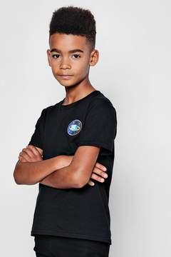 boohoo Boys Planet Emblem Embroidered T-Shirt