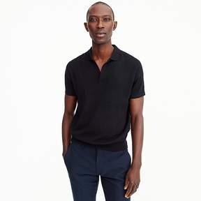 J.Crew Pima cotton short-sleeve Johnny-collar sweater polo in black