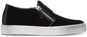 Giuseppe Zanotti Black Velvet London Slip-On Sneakers