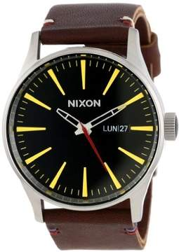Nixon Sentry Black Dial Stainless Steel Brown Leather Quartz Mens Watch A105-019