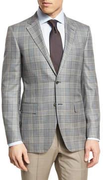 Ermenegildo Zegna Plaid Two-Button Sport Coat, Gray/Camel