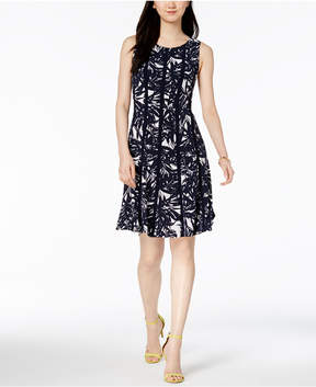 Connected Sleeveless Printed A-Line Dress