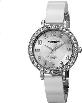 Akribos XXIV Silver Dial White Ceramic Ladies Watch