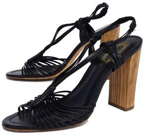 Elie Tahari Black Woven Leather Sandal Heels
