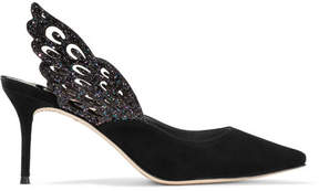 Sophia Webster Angelo Cutout Glittered Leather And Suede Slingback Pumps - Black