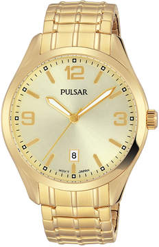 Pulsar Men's Traditional Gold-Tone Stainless Steel Expansion Bracelet Watch 41mm PS9488