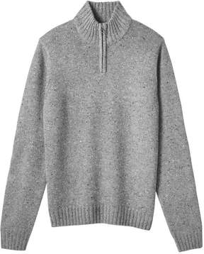 Joe Fresh Men's Quarter Zip Wool Blend Sweater, Dark Grey Mix (Size S)