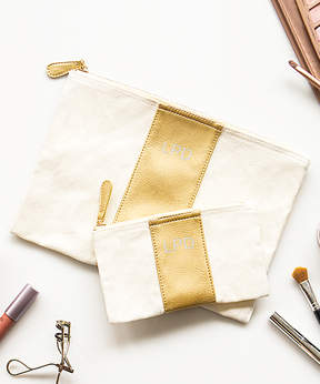 Cathy's Concepts Personalized Gold Faux Leather Clutch Set