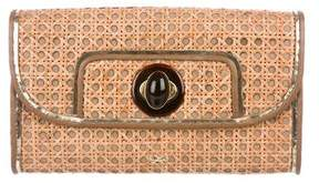 Anya Hindmarch Rattan Leather-Trimmed Clutch