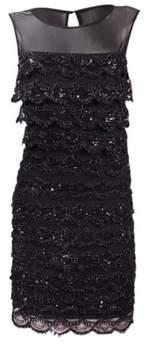 Jessica Simpson Women's Sequin Embellished Tiered Dress (6, Black)