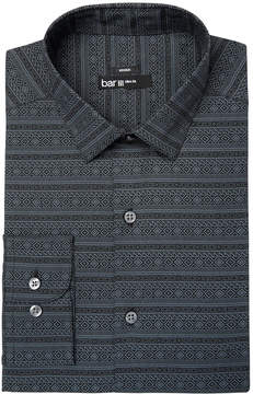 Bar III Men's Slim-Fit Stretch Easy-Care Black Gray Fair Isle Print Dress Shirt, Created for Macy's