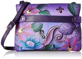 Anuschka Anna by Women's Genuine Leather Medium Crossbody Handbag | Zip-Top Organizer with Snap Side |Festive Floral Eggplant