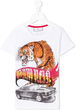 Philipp Plein Junior embellished tiger and car print T-shirt