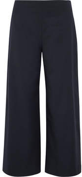 ADAM by Adam Lippes Cropped Wool Wide-leg Pants - Navy