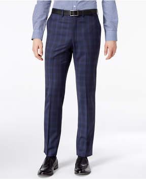 DKNY Men's Modern-Fit Stretch Blue Plaid Suit Pants