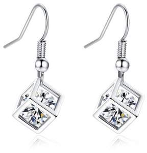 Alpha A A Designer Inspired 3D Cubed Earrings With Centred CZ Stone