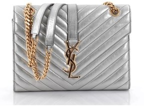 Saint Laurent Pre-owned: Classic Monogram Satchel Matelasse Chevron Leather Medium. - SILVER - STYLE
