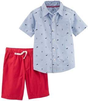 Carter's Boys 4-8 Whale Print Polo & Solid Shorts Set