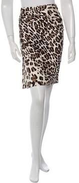 Blumarine Leopard Print Silk Skirt