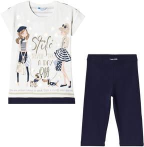 Mayoral Navy Fashion Diamante Print Tee and Leggings Set