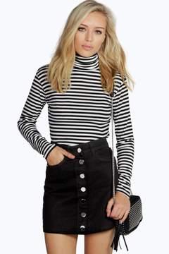 boohoo Laura Black Denim Button Through Mini Skirt