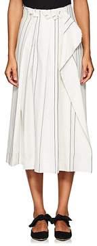 Cédric Charlier Women's Striped Cotton-Blend Pleated Midi-Skirt