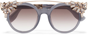 Jimmy Choo Vivy/s Embellished Round-frame Acetate And Gold-tone Sunglasses - Gray