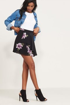 Dynamite Floral Mini Skirt With Ruffles