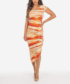 Cotton Candy Orange Tie-Dye Asymmetrical Midi Dress