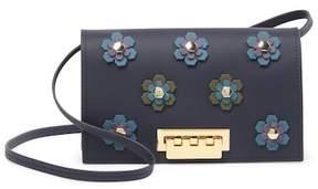 Zac Posen Earthette Leather Floral Studded Crossbody Bag