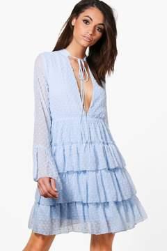 boohoo Melanie Ruffle Tiered Spot Skater Dress