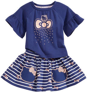 Hello Kitty 2-Pc. Flounce-Sleeve Top & Striped Skirt Set, Baby Girls