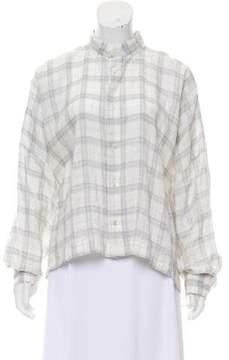 eskandar Plaid Linen Button-Up
