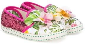 MonnaLisa sequinned tropical slip-on sneakers