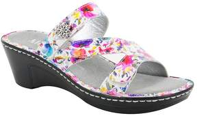 Alegria Loti Printed Leather Wedge Slide Sandals