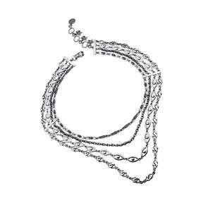 Azza Fahmy Sterling Silver Multi Row Rumuz Chains Necklace