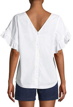 Laundry by Shelli Segal Ruffle-Tiered Short-Sleeve Button-Back Top
