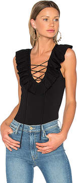 Central Park West Miami Ruffle Lace Up Bodysuit