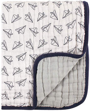 Hudson Baby White & Gray Paper Airplane Four-Layer Blanket - Infant